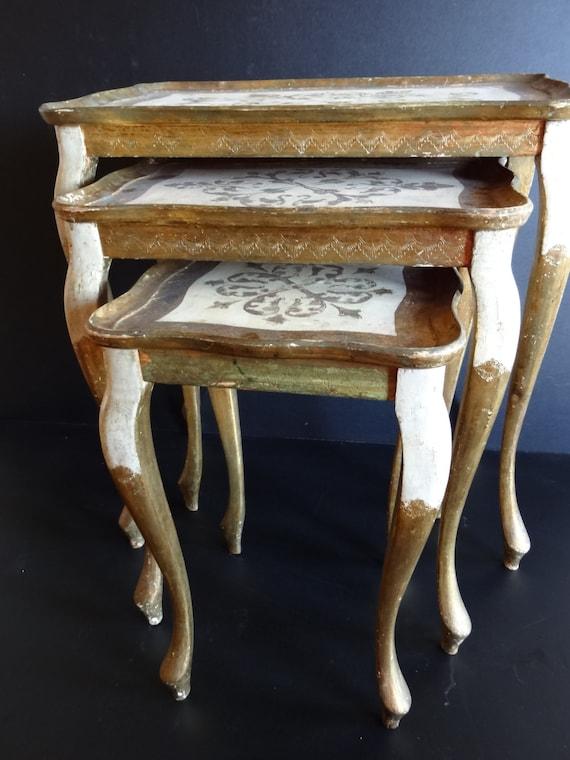 Vintage Florentine Italian Nesting Tables Set Of 3 Wood
