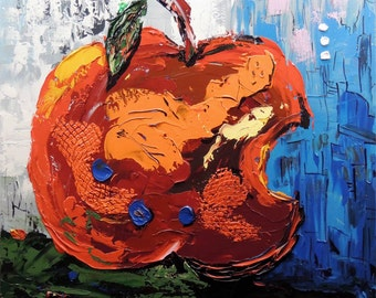 ORIGINAL Modern Fine Art Apple Contemporary -- Impasto texture Palette knife impressive large Painting Still Life Party by IraSher