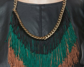 Earth Tone Fringe and Chain Necklace- Jewelry - burning man - festival - accessory