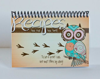 Owl Recipe Book, Blank Laminated Journal, 4x6 Owl Orange Teal Pink Salmon Cooking Recipes Christmas Gift Teacher Graduation Love White Pages