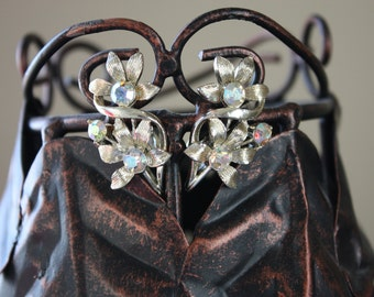 Vintage 1950's Coro Floral and Rhinestone Clip On Earrings