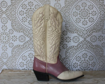 Women's Vintage Pink and Cream Wrangler Cowboy Boots Size 5.5