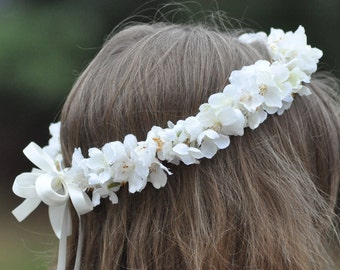 Flower Girl Wreath, First Communion Floral Crown, Wedding Flowers, Cherry Blossom Wreath by Holly's Flower Shoppe.