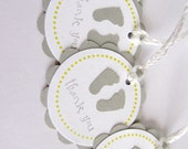 Baby Shower Favor Tags - Thank You Tags - Grey and Yellow - Baby Feet - Set of 12 tags