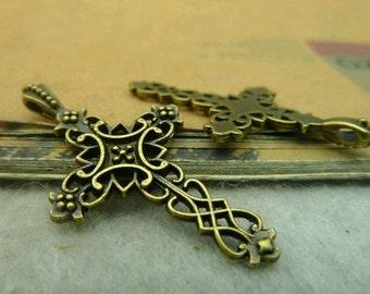 30pcs 20x38mm The Cross Antique Bronze Retro Pendant Charm For Jewelry Bracelet Necklace Charms Pendants C3566
