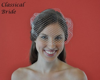 BANDEAU FRENCH BIRDCAGE Blusher 9 Inch Veil In Ivory or White for bridal wedding accessory head piece