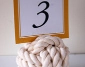 12 Large White Cotton Nautical Knots, Monkey Fist Knots - Nautical Wedding Decor