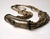 Thai Necklace, hammered metal silver color tube beads, Southeast Asian folk art pendant