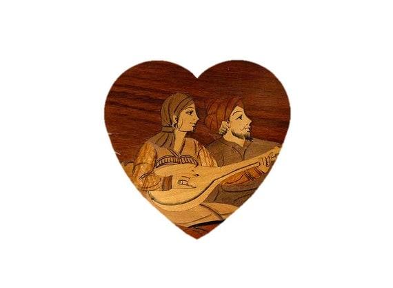 Marquetry plaque, Rubaiyat illustration in inlaid wood