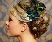 Jade, Moss Green, Emerald Green Wedding Hair Accessories Peacock Feather Bridal Head Piece Fascinator Hair Clip, Bridal Hair Clip, Hair Comb