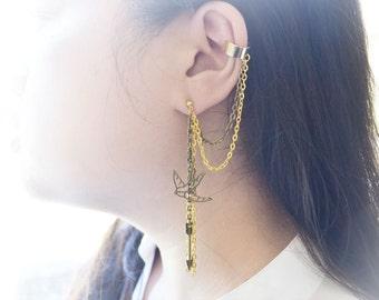 Bronze Arrow and Bird Chain Ear Cuff Earrings (Pair)