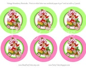 INSTANT Download STRAWBERRY SHORTCAKE doll Birthday Girl Party Decorations centerpieces Vintage printable favor tags