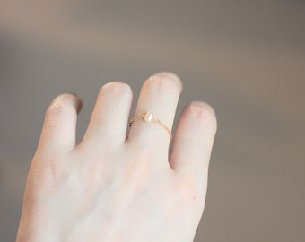 Delicate Handmade 14K Gold Filled Chain Ring with Pink Freshwater Pearl, Birthstone of June, gifts under 10
