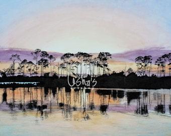Florida Marina Trees at Sunset  -  11 x 14 print