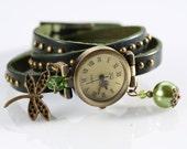 "SALE 50% off: Genuine Leather - Wristwatch, wrap watch, watch, ""Green Dragonfly"""