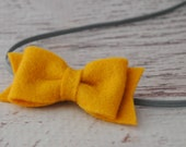 Wool Felt Bow Headband - Mustard - Newborn, Baby to Adult