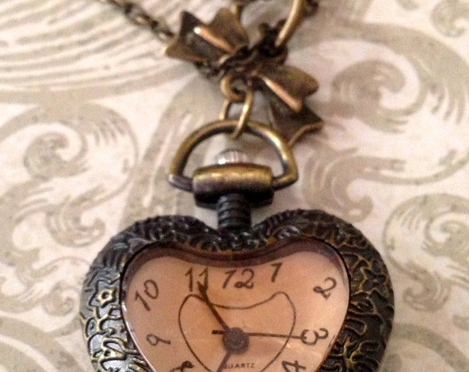 Jewelry Necklace Victorian Steampunk Pink Heart Pocketwatch Necklace Romantic Inspired