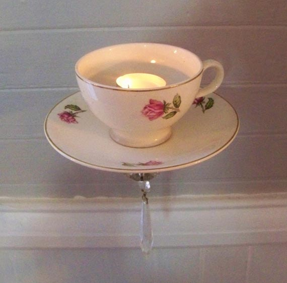 Wall Hanging Tea Light Holder : Tea Cup Sconce Tea Light Sconce Tea Light Holder Wall by OBabyBBQ