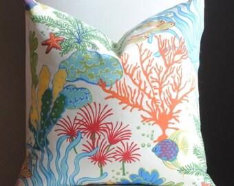 Designer Pillow -Outdoor Pillow-Both Sides-20x20-Splish Splash-Green-Blue-Orange-Red-Yellow-Nautical Pillow
