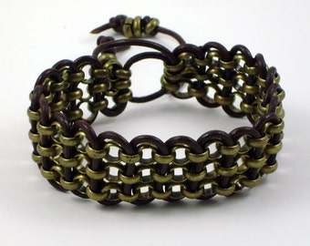 Antique Brass Chain With Brown Leather Cord Cuff Bracelet