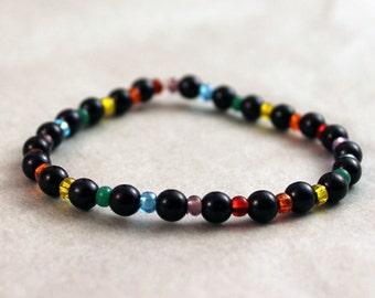 Gay Lesbian Pride Rainbow Beaded Bracelet LGBT Jewelry