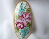 Brooch porcelain handpainted Flowers with Matt Gold