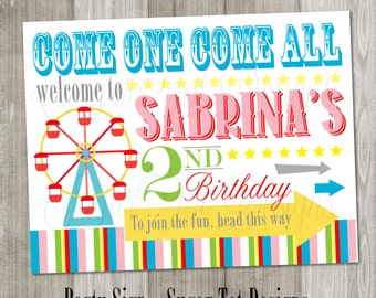 PRINTABLE Carnival, Circus Party Sign - Retro - Vintage
