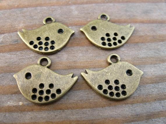 10 Bronze Bird Charms 16mm Antiqued Bronze Mod Birds