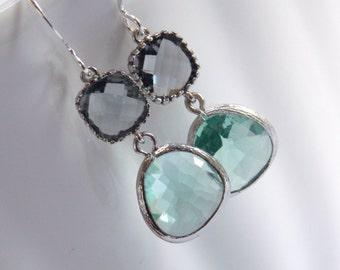 Aqua Earrings, Gray Earrings, Grey Earrings, Silver Earrings, Glass Earrings, Wedding, Bridesmaid Earrings, Bridal Jewelry, Bridesmaid Gift