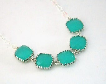 Glass Necklace, Mint Necklace, Aqua Necklace, Turquoise, Mint Blue, Mint Green, Bridal Jewelry, Bride Necklace, Bridesmaid Jewelry