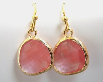 Peach Earrings, Pink Glass, Coral, Bridesmaid Jewelry, Gold Earrings, Grapefruit, Bridesmaid Earrings, Bridal Jewelry, Bridesmaid Gifts