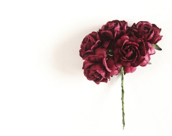 "1.25"" Wine Peony Paper Flowers (5 blooms)"