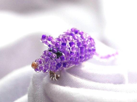 CIJ Sale Cute purple beaded Mouse Brooch Animal Brooch