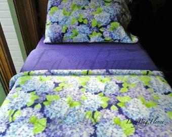 Girls Toddler Fleece Bedding Set  'Blue Hydrangea' Handmade Sheets Fits Crib and Toddler Beds