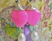 Hot Pink Gypsy boho chic heart earrings with real baroque pearls pink quarts faceted silver wire wrapped ready to ship next day