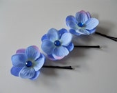 Blue Flower Crystal Centered Hair Pin, Set of 3