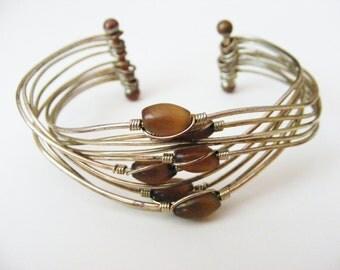 Vintage Boho Chic Silvertone and Earthy Brown Bead Adjustible Bracelet