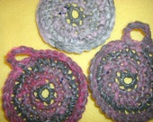 Pink and Grey Plarn Dish Scrubbies set of 3