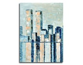 "Original oil painting - New York city impressions  -  Original unique light blue, beige abstract cityscape painting - 27,6"" x 19,7"""