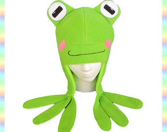 Green Frog Aviator Hat - Fleece Anti Pill Anime Animal Cosplay Eyes Feet Cute Warm Froggy Ear Flaps Bright Adult Teen Child Clothing