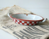 antique french enamelware dish, white with classic Lustucru red and white checkerboard design, french home decor, cottage style