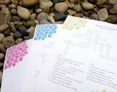 Custom Crossword Puzzle - Bloom - Perfect for weddings, rehearsal dinners and showers