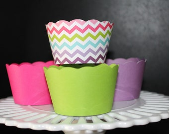 Multi Color Chevron Stripe with Solid Cupcake Wrappers