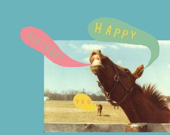 SALE - SEL - Happy Birthday You Horse Humour Eco Friendly Art Greeting Card