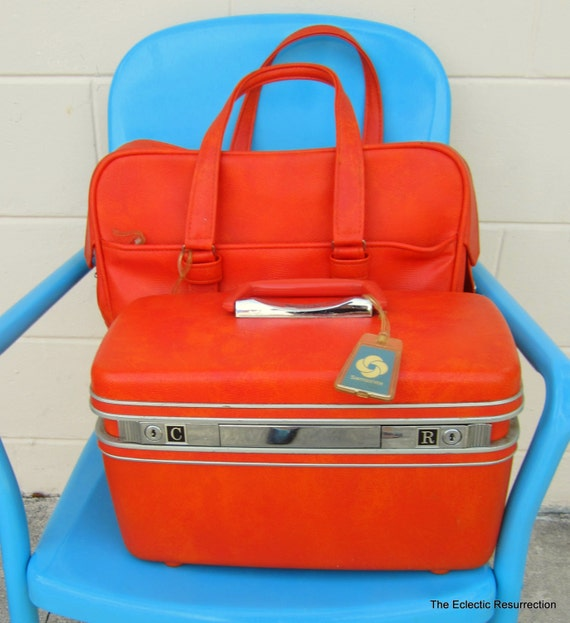 Vintage Orange Samsonite Train Case & Tote-Circa 1960s-Set of 2-Samsonite Silhouette