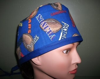 Male scrub cap with ties Nfl teams
