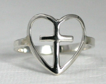 sterling silver heart and cross ring, silver heart and cross ring, sterling silver cross ring, silver cross ring, silver heart ring