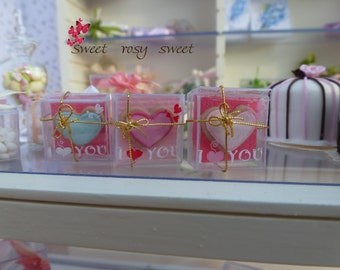 I love you box with heart cookie-light blue-fuxsia-pink- 12th scale-dollhouse miniature