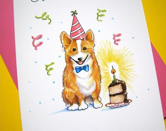 Corgi Birthday Card. Dog Cards. Welsh Corgi