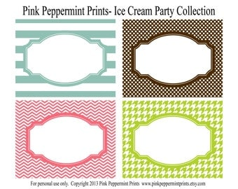 NEW INSTANT DOWNLOAD The Ice Cream Party Collection Printable Party Labels